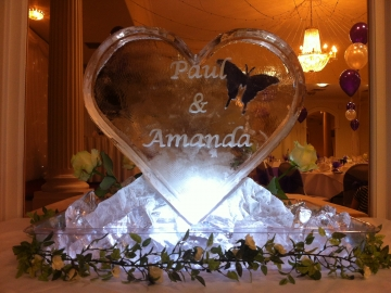 Engraved heart with flowers & purple, engraved butterfly