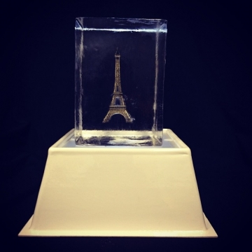 Eiffel Tower Suspended in Ice