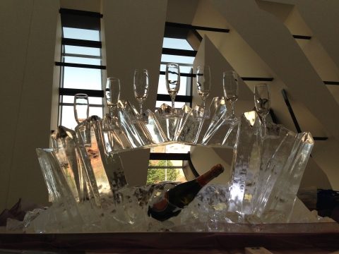 Abstract Ice Crystal Champagne Glass Display & Bottle Chiller