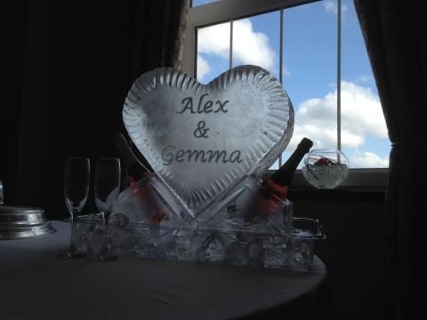 Solid, engraved heart & champagne cooler