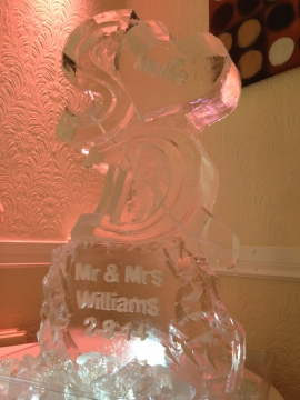 Initials S & D with engraved heart & base vodka luge