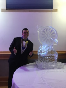 Here you can see Matt posing with his ice sculpture that he and the boys from Abergavenny Roundtable made a few weeks earlier.
