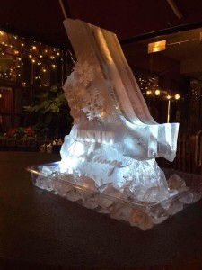 Engraved Ice Ski Luge with Bottle Holes