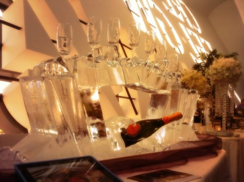 Abstract Ice Crystal Champagne Cooler & Glass Display