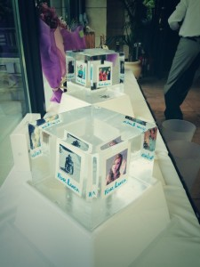 Photos in ice table centres. For Luca charity event.