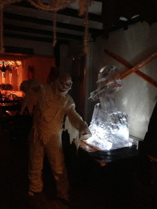 Our Halloween sculpture in-situ with a Mummy for company.