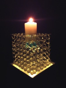 Bubble Ice Candlestick with coloured glass stones inside to match colour-scheme.