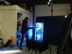 Filming the destruction of the ice sculptures for the BBC
