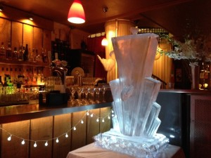 """Art Deco Cocktail Luge """"Thankyou so much for the wonderful ice sculpture you made for my party on Saturday. It looked fantastic and was a real talking point. It looked great with all the cocktails running through it and everyone loved it."""" Victoria Ligman"""