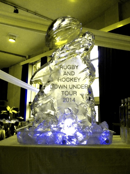 Rugby Ball Vodka Luge with engraving