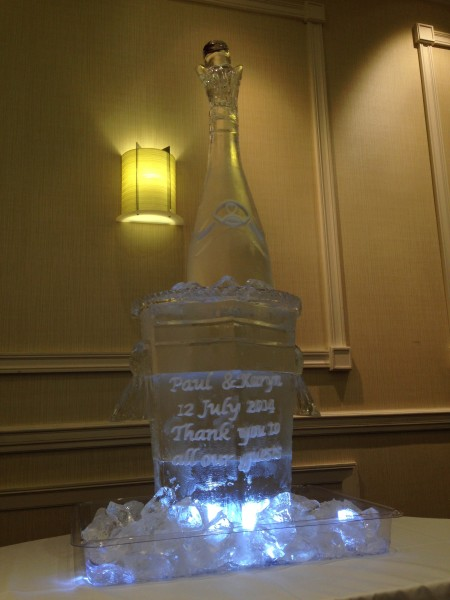 Giant Champagne Bottle and Ice Bucket with engraving