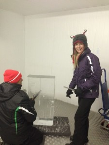Mike & Kelly carve their own ice sculpture for their wedding