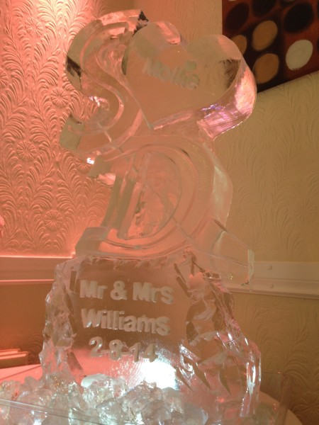 Initials S and D with engraved heart & base vodka luge